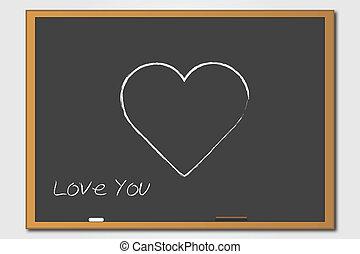 Chalkboard Heart - Heart Chalkboard Illustration