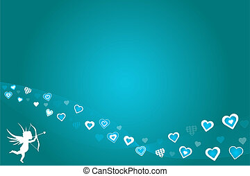 Teal Hearts Valentine Background