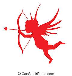 rojo, cupido, silueta
