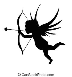 Black Cupid Silhouette isolated on a white background