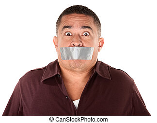 Taped Mouth Hispanic Man - Worried Hispanic man with duct...