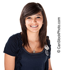 Cute Latina with Braces - Cute Hispanic teenage girl with...