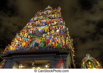 Sri Mariamman Hindu Temple Singapore at Night - Sri...