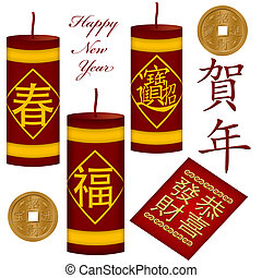 Chinese New Year Firecrackers with Red Packet