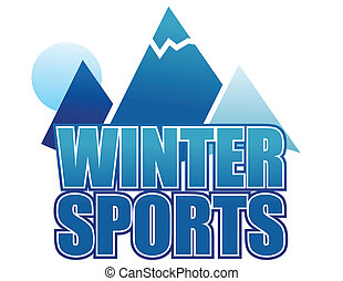 Winter sports sign isolated over white