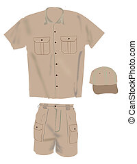 Uniform illustration, hat shirt and shorts