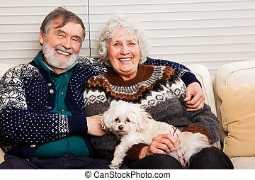 Senior couple - A portrait of a happy senior couple at home
