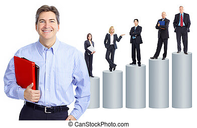 Business people team and graph Isolated over white...