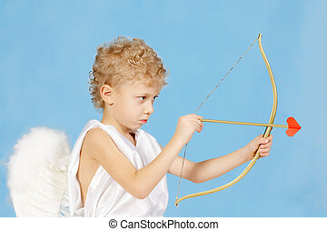 For human love - Portrait of little boy with bow and arrow...