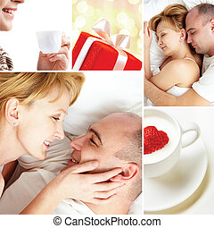 Symbol of love - Collage of loving couple with love symbols