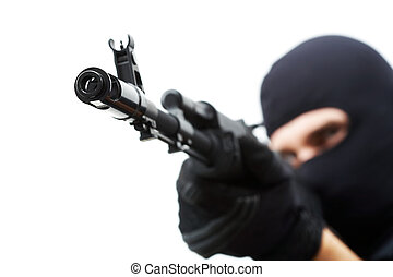 Gunpoint - Image of killer pointing his gun at camera with...
