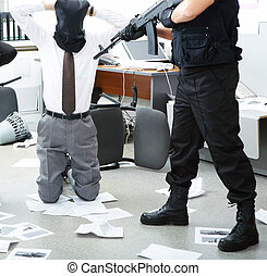 Burglary - Photo of kneeling businessman wearing black sacks...