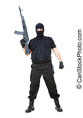 Terrorist - Portrait of dangerous bandit in black wearing...