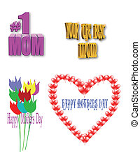moms day - mothers day elements for holiday in 3d and 2d
