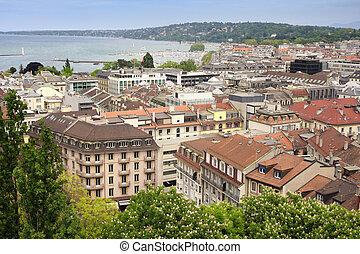 Geneva, Switzerland - panoramic view of Geneva, Switzerland...