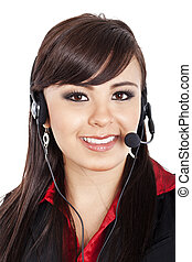Female call center operator - Stock image of female call...