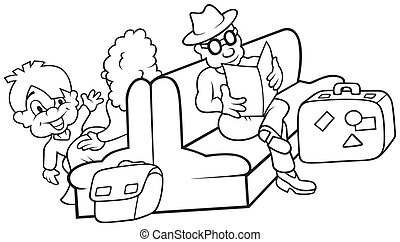 Waiting Room - Black and White Cartoon illustration, Vector