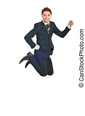 Cheerful business man jumping isolated on white background