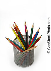 Pen holder - Close-up of colored pencils Pencil box