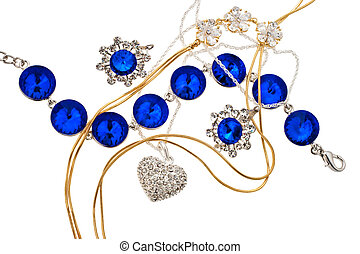 Jewellery mix on white background