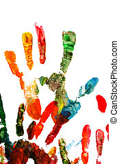 handprints - colorful handprints isolated on a white...