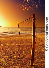 Volleyball net on the tropical beach, Chang island, Thailand...
