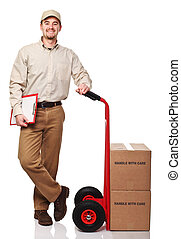 friendly delivery man - smiling delivery man with red...