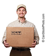 delivery man - smiling delivery man holding a big parcel...