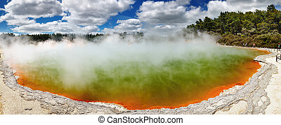 Hot thermal spring, New Zealand - Champagne Pool, hot...
