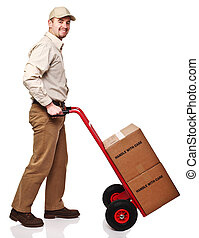 smiling delivery man - friendly delivery man isolated on...