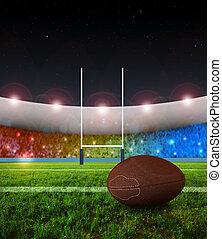rugby, pénalité, coup de pied, -, nuit