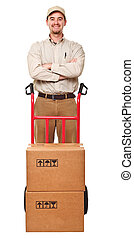 delivery man portrait - smiling delivery man with red...