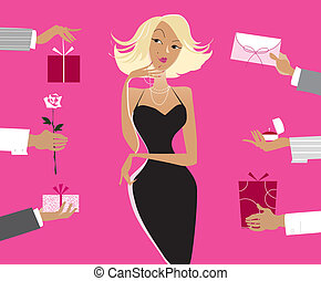 Valentine gifts - Vector illustration of a lady surrounded...