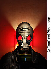 Gas Mask Man - Man wearing gas mask on red background with...