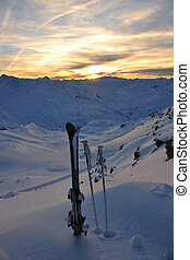mountain snow ski sunset - mountain snow ski with beautiful...