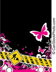 pink floral construction