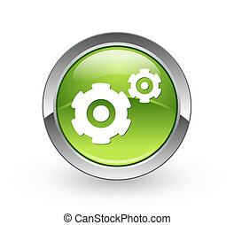 Gears - Green sphere button - A high resolution green sphere...