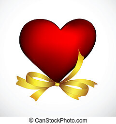 heart with ribbon - illustration of heart with ribbon on...