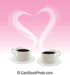 coffee with heart - illustration of coffee with heart on...