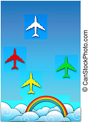 aeroplane in sky with rainbow - illustration of aeroplane in...