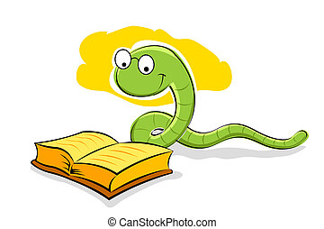 book with snake - illustration of book with snake on white...
