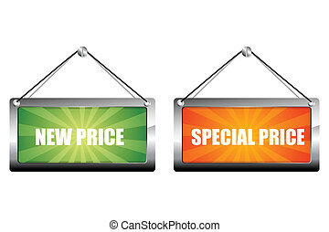 new and special price tags - illustration of new and special...