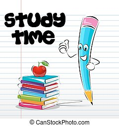 study time card - illustration of study time card with apple...