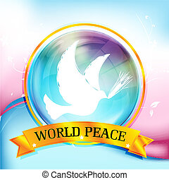 world peace - illustration of world peace with bird on...