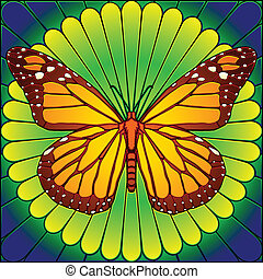 Stained glass butterfly - Monarch butterfly on flower in...