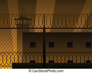 Incarceration background - Background of prison buildings,...