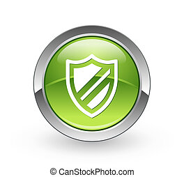 Protection - Green sphere button - A high resolution green...