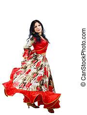 Mature woman dance in gypsy costume