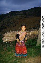 Hmong ethnic girl in the night - Night falls, the 10 year...