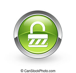 Unlock - Green sphere button - A high resolution green...